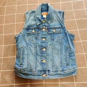 Levi's Button Down Denim Blue Jean Vest Women's